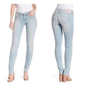 True Religion Pink & Black Paint Splatter Jeans